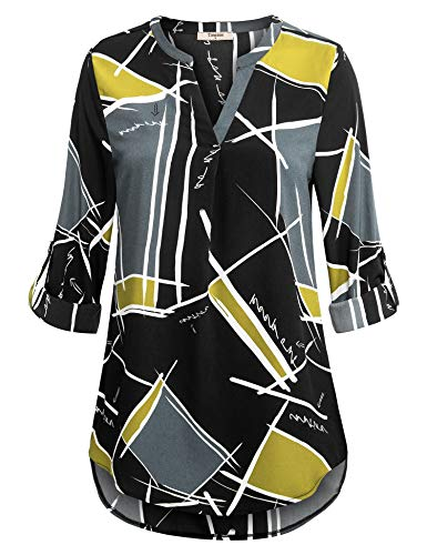 Timeson Long Tunics for Women to wear with Leggings, Henley 3/4 Sleeve Blouses Flowy Dressy Ladies Plaid Shirts Womens Chic Blouses for Work Casual (Yellow Black, X-Large) from Timeson