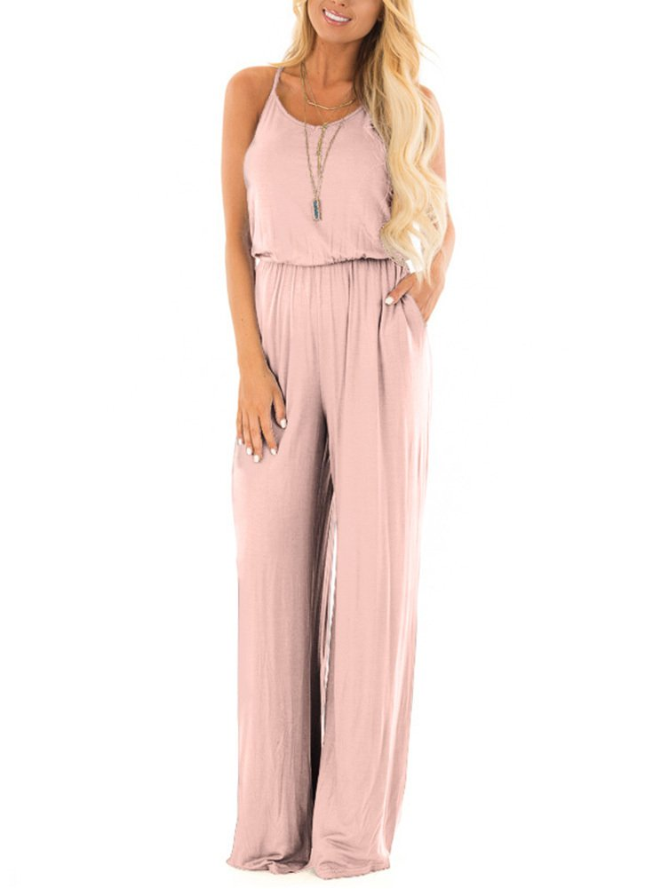 Women Summer Casual Loose Spaghetti Strap Sleeveless Open Back Wide Leg Long Pants Romper Jumpsuits Blush Medium
