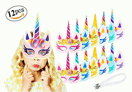 (Rainbow Unicorn Sparkling Paper Masks for Kids, Girls and Boys Birthday Party Eye Masks for Unicorn Themed Party, Sleepovers, Unicorn Party Favors, Supplies and Decorations, 12 PCS By Intelliuz)