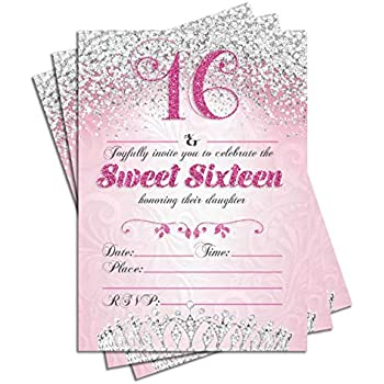 Sweet Sixteen 16 Birthday Party Double Sided Invitations Set Of 25 5x7 Girls 16th