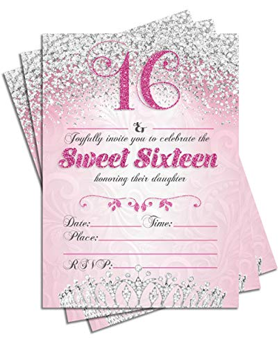 Sweet Sixteen 16 Birthday Party Double Sided Invitations, Set of 25 5x7 Girl's 16th Birthday Invitations includes Envelopes (Family) ()