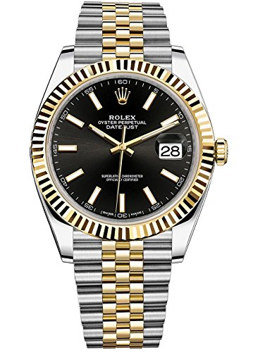Rolex Datejust 41 Stainless Steel & 18K Yellow Gold Jubilee Watch Black Dial 126333