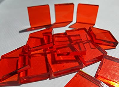 FortySevenGems 100 Pieces Stained Glass Mosaic Tiles 1/2-Inch Orange Cathedral Glass