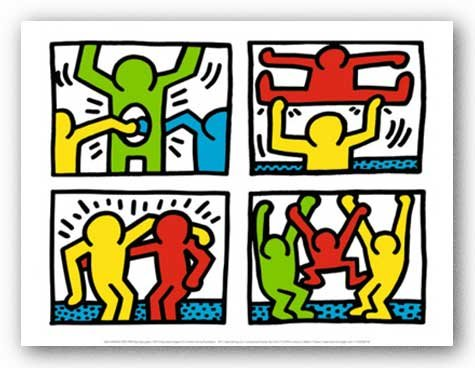 "Bruce Teleky Pop Shop Quad I, 1987 by Keith Haring 11.875""x15.75"" Art Print Poster from Bruce Teleky"