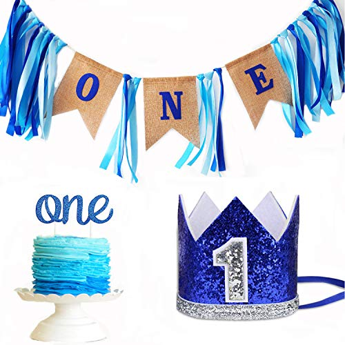 Leedemore Baby 1st Birthday Boy Decorations Crown - Baby Boy First Birthday Decorations High Chair Banner ONE Burlap Banner, No.1 Crown, Glitter Cake Topper Birthday Party Decorations Supplies]()