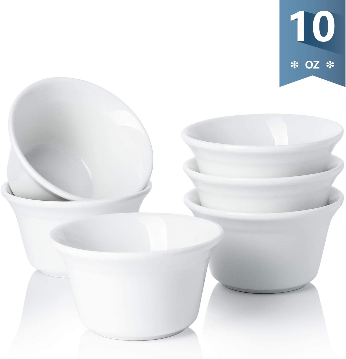Sweese 512.001 Porcelain Souffle Dish 10 Ounce Oven Safe Ramekins, Set of 6, White