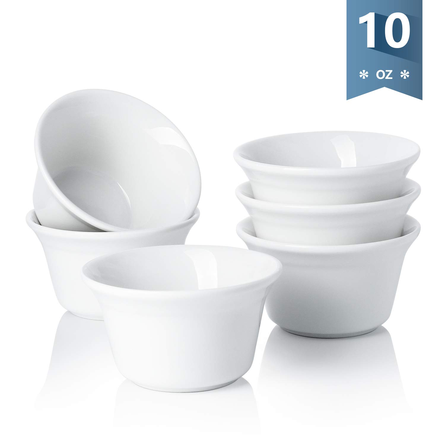 Sweese 512.001 Porcelain Souffle Dish 10 Ounce Oven Safe Ramekins, Set of 6, White by Sweese