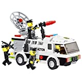 High Speed - 155 pcs Police Riot Control building blocks set truck mounted with water cannon and sonic crowd control device, and armed police men - for every 6+ police officer in Lego compatible