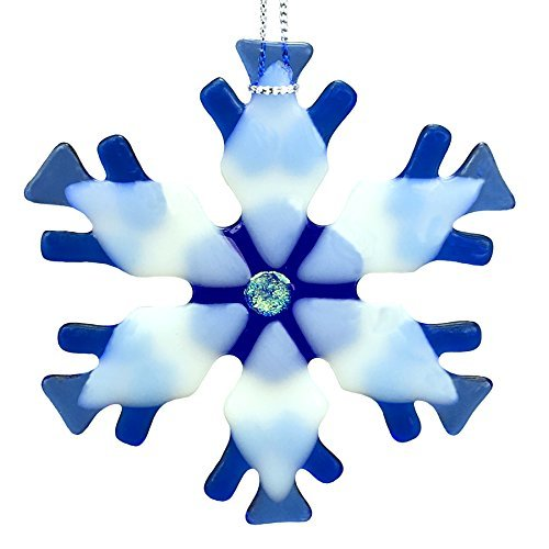 Blue Mix Kiln Fired Glass Snowflake Ornament #3