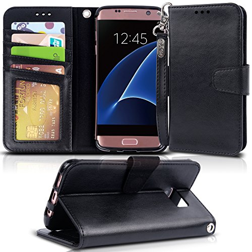 Arae Case Compatible for Samsung Galaxy s7 Edge, [Wrist Strap] Flip Folio [Kickstand Feature] PU Leather Wallet case with ID&Credit Card Pockets (Black)