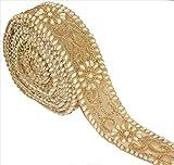 BridalMary Hand Beaded Bridal Dress DIY Wedding Sash Applique 1 YD Trim Lace Golden