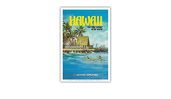 Vintage Airline Travel Poster by Michael Hagel c.1970s 12 x 18in United Airlines City of Refuge Honaunau Bay Master Art Print Pacifica Island Art Hawaii
