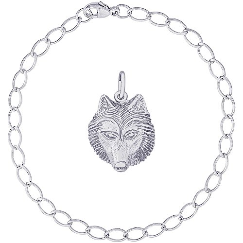 Rembrandt Charms Sterling Silver Wolf Head Charm on a Elongated Oval Bracelet, ()