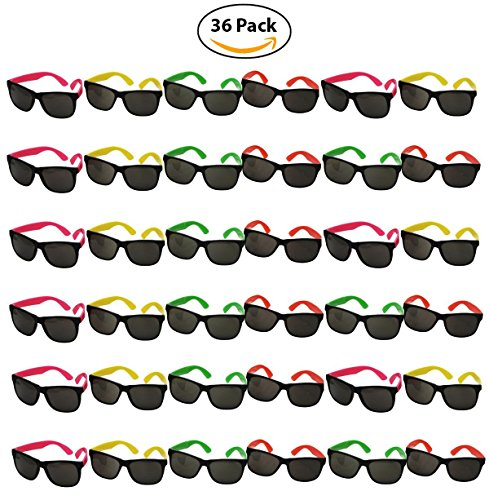 Wholesale Bottles N Bags 36 Pack of Neon 80s Style Party Toy Sunglasses by for cheap