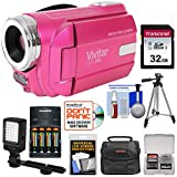 Vivitar DVR-508 HD Digital Video Camera Camcorder (Pink) with 32GB Card + Batteries & Charger + Case + LED Video Light + Tripod + Kit