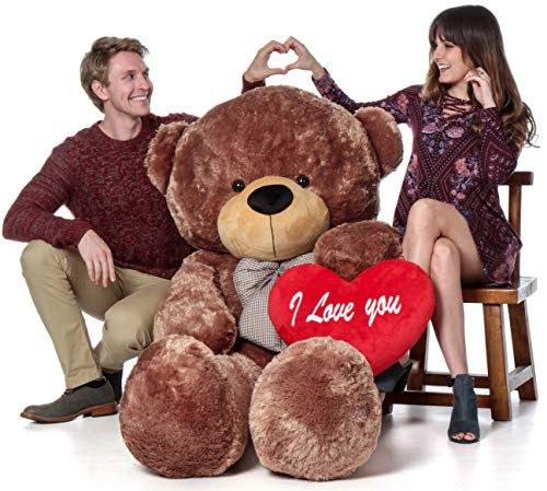 Giant Teddy Brand 6 Foot Life Size Mocha Brown Color Big Plush Teddy Bear Sunny Cuddles (with I Love You Heart) ()