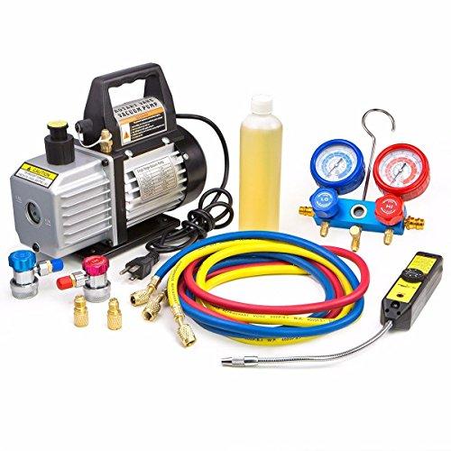 XtremepowerUS Premium 4CFM Air Vacuum Pump HVAC A/C Refrigeration Kit AC Manifold Gauge Case Set w/Leak Detector and Carrying Tote Bag by XtremepowerUS (Image #2)