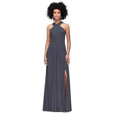 ee5c578795b David s Bridal Crisscross High-Neck Mesh Bridesmaid Dress Style F19952