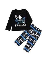 GOTD Christmas Toddler Baby Cartoon Letter Print Top+ Long Pants 2PCS Outfit Set