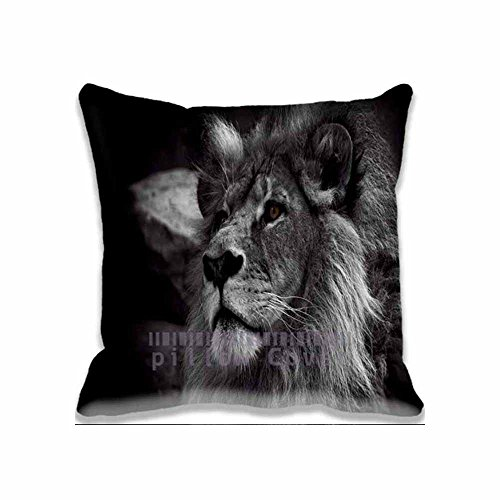 Lion Black and White Throw Pillow Case Cushion Cover Home Office Decorative Square 20x20inch Pillow Cover with Hidden Zipper,Two Sides Print