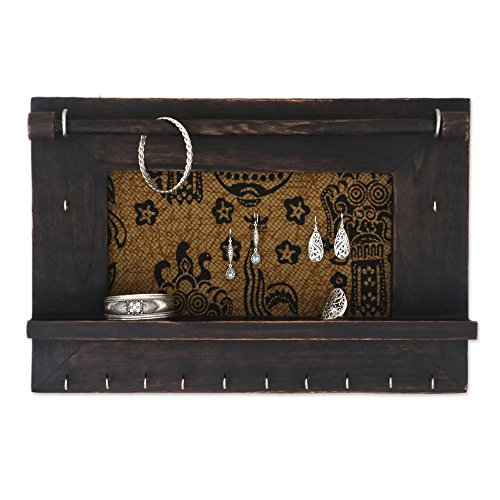 NOVICA Brown and Gold Cotton Wood Batik Jewelry Display Organizer 'Tegalalang Heritage In Brown'