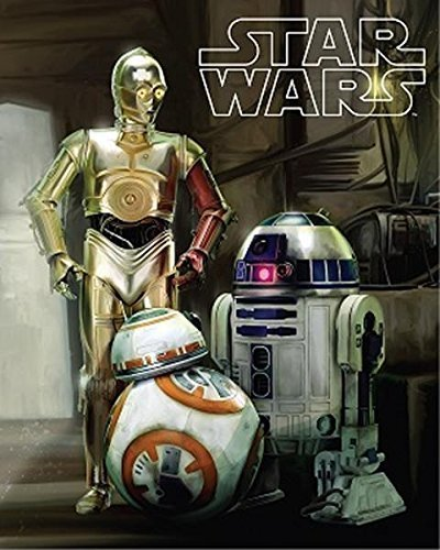 Disney Star Wars Droids R2-D2, C-3PO, and BB8 Super Soft Plush Oversized Twin Sherpa Throw Blanket