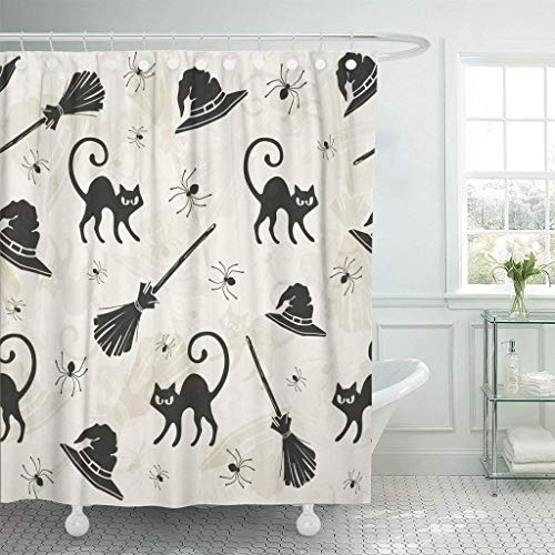 Halloween Cat Silhouette Pattern (GETTOGET Pattern Halloween Cats Brooms and Witch Hats Silhouette Black Shower Curtain Bathroom Sets Hooks,Waterproof Polyester)