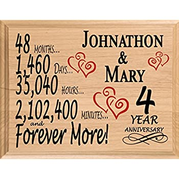 Amazon Com Broad Bay 4th Personalized 4 Year Anniversary Wedding