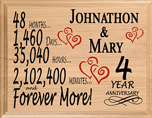 Broad Bay 4th Personalized 4 Year Anniversary Wedding Gift for Wife Husband Couple Him Her