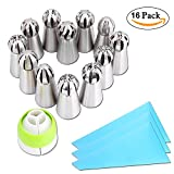Russian Ball Tips, PROMENE Russian Sphere Ball Icing Tips Nozzles Cake Decorating Supplies Cookies Macaron Cupcake Decorating Tips Kits with 3 Reusable Silicone Pastry Bag (12 Sets)