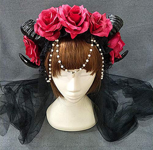 Restyle Sheep Horn Rose Flower Headband Gothic Beauty Horror Horns Halloween Black Veil Lace Retro Hair Accessories Vintage (Pearl Veil E)]()