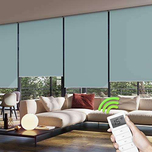 Yoolax Motorized Window Roller Shades Blinds Wireless Remote Control Blackout Fabric Shades for Home and Office Customized (Lake Blue)