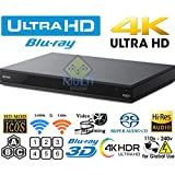 SONY X800 UHD 2K/4K - 2D/3D - Wi-Fi 2.4/5.0 Ghz - Clear Audio - Multi System Region Free Blu Ray Disc DVD Player - PAL/NTSC - USB - 100-240V 50/60Hz for World-Wide Use & 6 Feet HDMI Cable