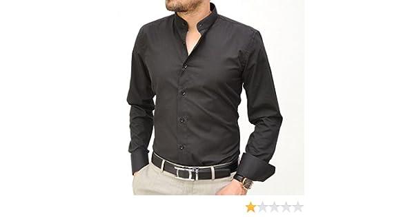 Camisa italiana con cuello mao, negra negro M : Amazon.es: Ropa y accesorios