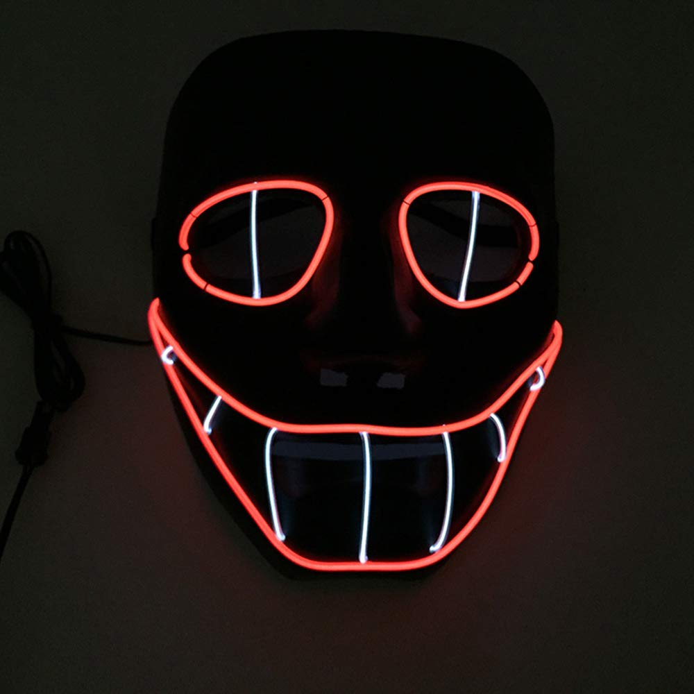 2018 New Halloween Mask Flashing EL wire Glowing Mask Flexible LED Neon light For dance DJ Bar Carnival Party Decoration (green) NewL