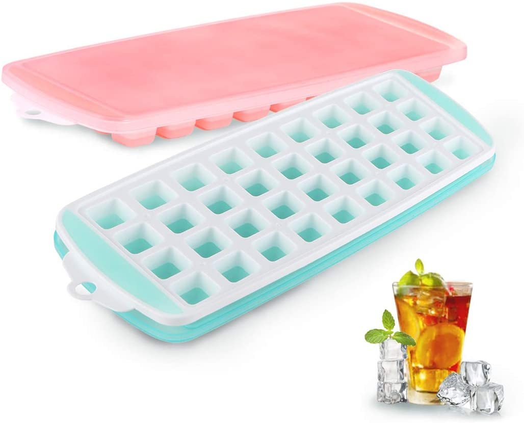 Small Ice Cube Trays with Lid - ZDZDZ Silicone Ice Cube Molds, 2 Pack Easy-Release Ice Trays - Make 72 Ice Cube,Stackable Ice Mold Set for Iced Coffee Whiskey Beverages Cocktails
