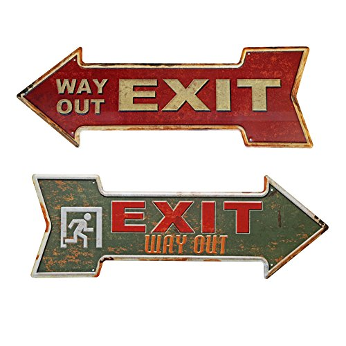2 Retro Signs (New Deco Exit Metal Tin Sign With Rustic Retro Arrow Decorative Sings For Cafe Pub Pack of 2)