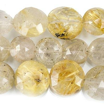 Golden Rutilated Quartz Faceted Coin Beads, 8