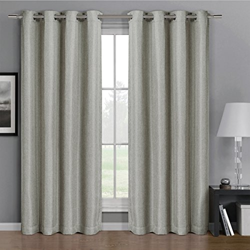Pair Of Two Top Grommet Gulfport Faux Linen Blackout Weave Thermal Insulated Curtain Panels  Elegant And Contemporary Gulfport Blackout Panels  Set Of Two Linen 52  By 63  Panels  104  By 63  Pair