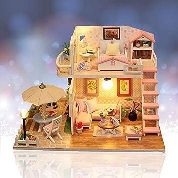 Amazon.es: Jeteven Juegos de Miniaturas Casa de Muñecas de Madera DIY Miniatura de Casa Accesorios para Muebles de Casa de Muñecas Regalo de Cumpleaño ...