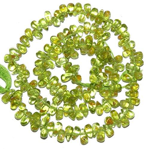 Green Peridot 6mm - 8mm Top-Drilled Teardrop Briolette Gemstone Beads 14 (Briolette Gemstone Teardrop)