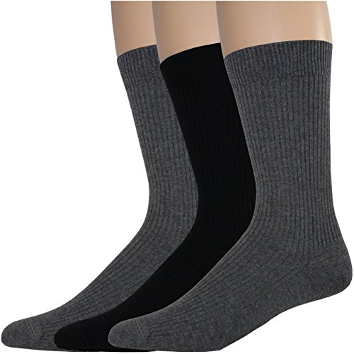 Dockers Men's 3 Pack Light Weight Crew, Charcoal Black Assorted, Sock Size:10-13/Shoe Size: - Dress Charcoal Mens