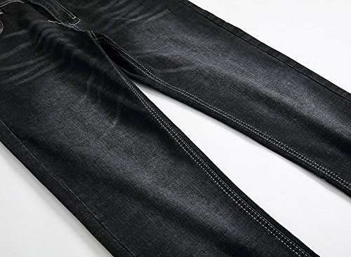 Stonewash Retrò Fitted Jeans Casuale Pantaloni Nerogrigio Uomo Denim Dritto Slim 5pdww