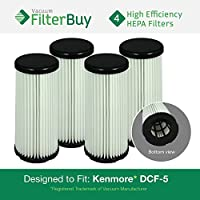 4 - Kenmore DCF-5 Washable Allergen HEPA Filters, Part # 618683, 02080011000 & 02039000000. Designed by FilterBuy to fit All Kenmore Quick Clean Upright Vacuum Cleaners