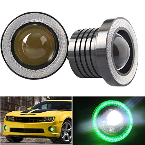 """Diaoaokiss 2.5/3/3.5"""" Car LED Fog Lights Angel Eyes Halo Ring DRL Driving Bulbs(2pcs, 6 colors for choice) (3.0inch, Green)"""