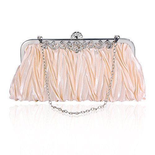 Bagood Women's Satin Pleated Envelope Evening Bags Clutches Purses Handbag Shoulder Bag for Wedding Bridal Prom Party Champagne