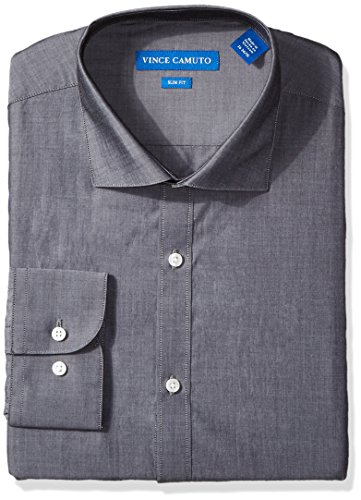 Vince Camuto Men's Slim Fit Dress Shirt, Slate Chambray, 16
