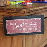 East of India Dear Santa Bring Wine Take Kids Wooden Sign Xmas Secret Santa Gift
