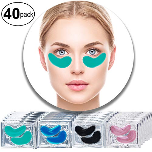 Set Kit of 40 Pairs Collagen Eyes Masks with Green Aloe Vera, Red Wine, Black Mud Volcanic Soil and Blue Marine Algae Seaweed for Moisture, Wrinkles Removal, Firming and Nourishing