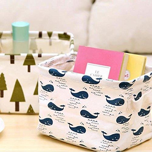 IDS 2 Pcs Cute Linen Cloth Desk Sundires Storage Basket Cosmetic Makeup Book Organizers